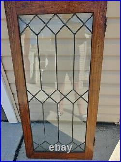 Vintage leaded glass cabinet door window 1920's