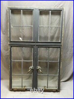 Vtg 37x57 Industrial Double 6 Lite Steel Casement Leaded Glass Window 514-20E