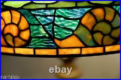 Wilkinson Leaded Glass Lamp Very Colorful Glass Unusual Pattern Of Sea Snails