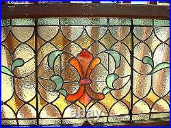 Wonderful Antique Victorian Stain Glass Window With Original Frame