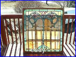 Wonderful Large Antique Victorian Stain Glass Window With Art Nouveau Motif